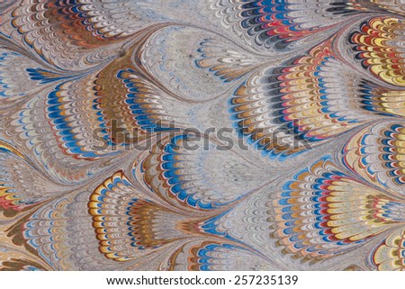 Antique Marbled Paper Background Any visible grain,noise,artifacting is in the PAPER, not in the photography. - stock photo
