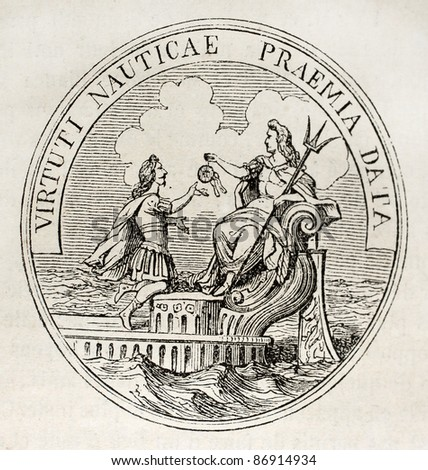 Antique medal celebrating French navy in the age of Louis XIV. By unidentified author, published on Magasin Pittoresque, Paris, 1843 - stock photo
