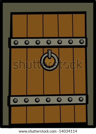 antique medieval door - stock photo