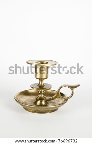 Antique metal candlestick background - stock photo