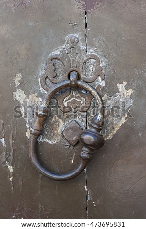 Antique metal door knocker on old door in Toulouse, France, closeup.