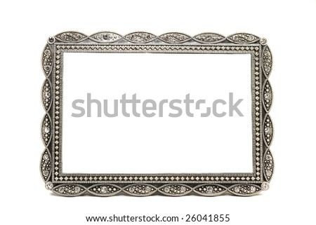 antique metal picture and photo frame with space for text - stock photo