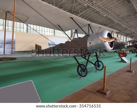 antique military propeller prop airplane on display  Royal Museum of the Armed Forces and of Military History Cinquantenaire Park Brussels Belgium - stock photo
