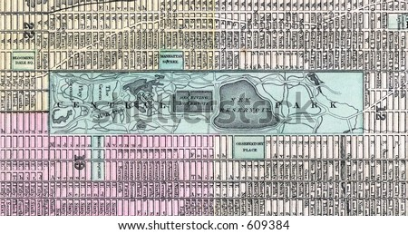 Antique 1870 Mitchell Central Park New York City Map - stock photo