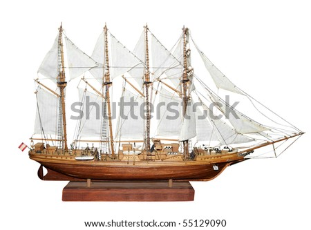Antique Model Sailing Ship isolated with clipping path - stock photo