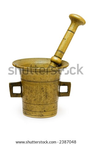 Antique mortar (kitchen tool) isolated on white background