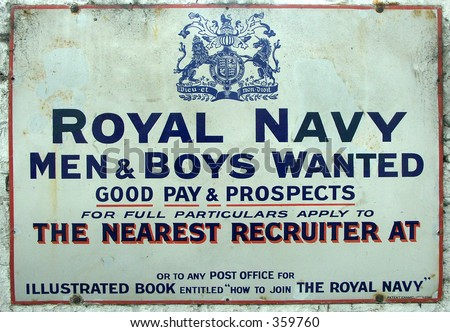 Antique Navy Recruitment Sign - stock photo