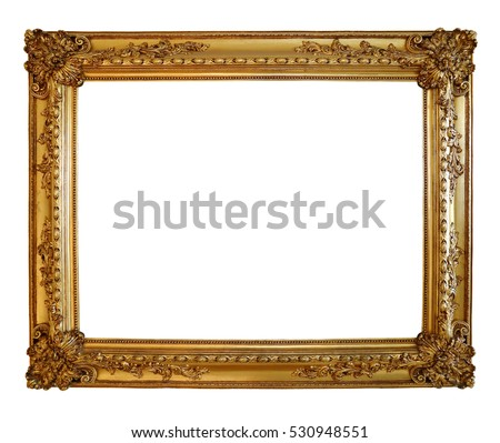 Antique of gold photo frame isolated over white background, clipping path.