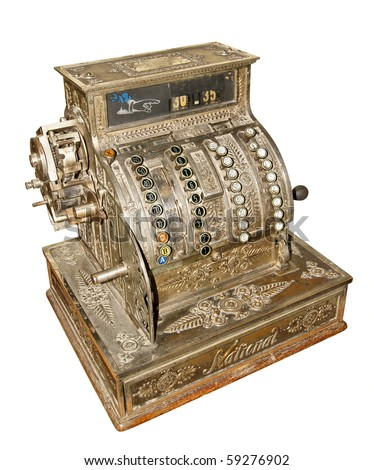 Antique old cash register isolated on white background - stock photo
