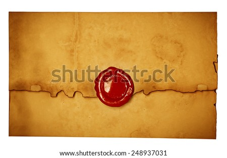 Antique old envelope with wax seal. - stock photo