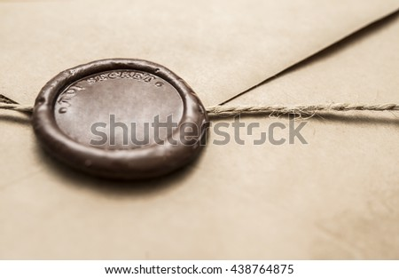 "Antique old envelope with wax seal. Mail with a stamp"" top secret"""
