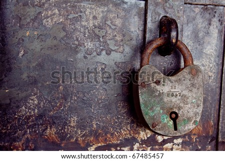 Antique old key has been locking, Rayong Thailand - stock photo
