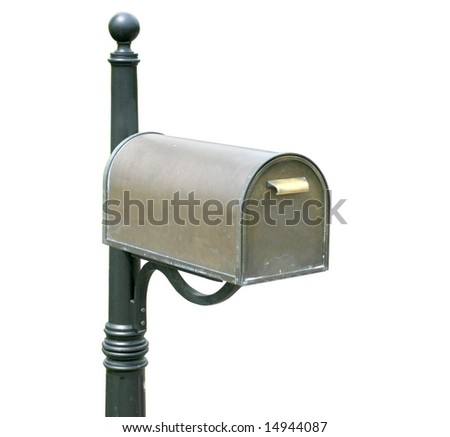 Antique, old mailbox, isolated over white background - stock photo