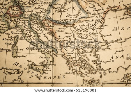 Antique old map italy greece stock photo royalty free 615198881 antique old map italy and greece gumiabroncs Choice Image