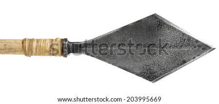Antique old silver arrowhead isolated on a white background - stock photo