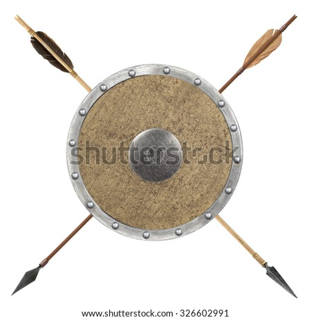 Antique old wooden arrow and shield isolated on a white background - stock photo