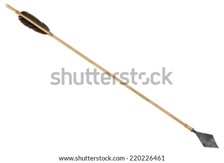 Antique old wooden arrow isolated on a white background - stock photo