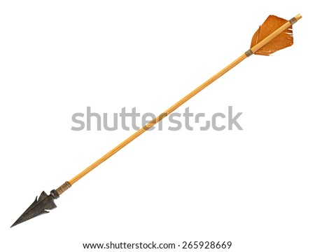 Antique old wooden arrow isolated on a white background. The army of Genghis Khan - stock photo