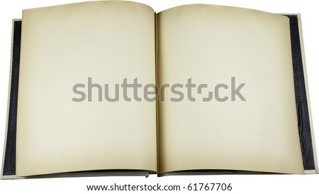 Antique open scrapbook with discolored pages and grunge intact. Work path. - stock photo