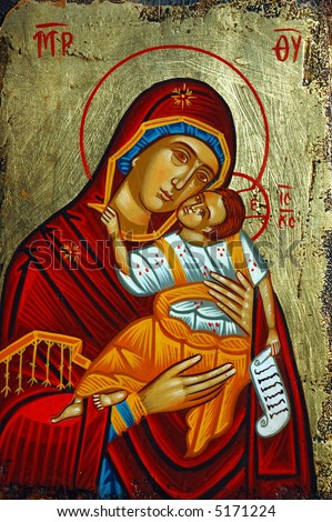 Antique orthodox paint called icon, Rhodes, greece. - stock photo