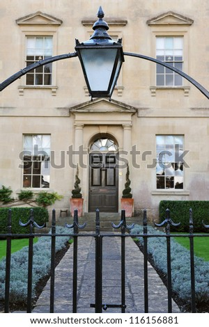 Antique Outdoor Lamp above the Entrance of a Luxurious London Town House - stock photo