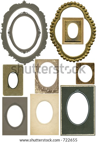 Antique oval frames from the early 1900's and late 1800's. Some grunge and wear intact. All with work paths. - stock photo