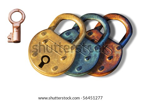 Antique Padlocks in different roughed metal surface with a key on their side. Isolated elements over white background. - stock photo