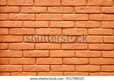 Antique Painted Red Brick Wall Background Or Texture For Home Interior Design In Modern Vintage Style, Close Up, Horizontal Image, Copy Space - stock photo