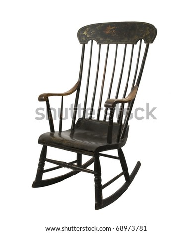 antique painted rocking chair on a white background - stock photo