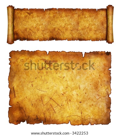Antique paper on white surface with antiqued edges. - stock photo
