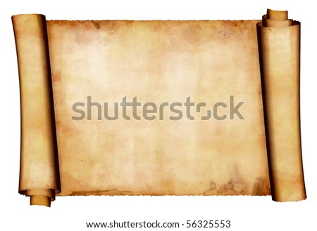 Antique paper scroll 2 - stock photo