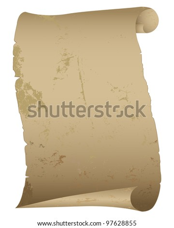 Antique paper scroll isolated on white. Raster version.