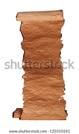 Antique paper scroll on white background - stock photo