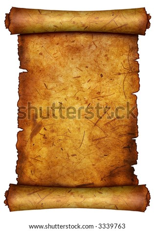 Antique paper  scroll on white surface with antiqued edges. - stock photo