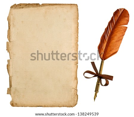 antique paper sheet and vintage ink pen isolated on white background. retro handwriting accessories - stock photo