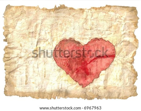 Antique paper with heart - stock photo