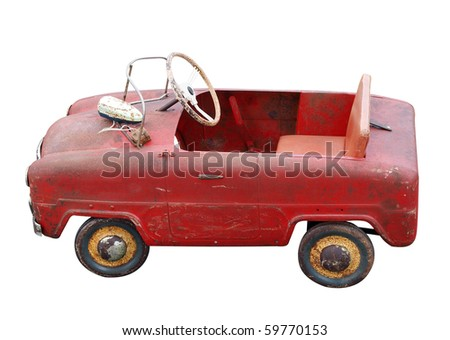 Antique Pedal Car isolated with clipping path - stock photo