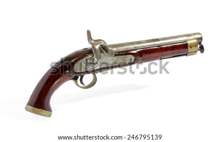 Antique percussion cap wooden pistol with a silver mechanism, side view over a white background