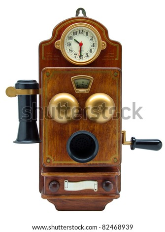 Antique phone with clock isolated on white. - stock photo