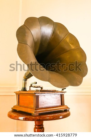 Antique Phonograph in the living room,thailand. - stock photo