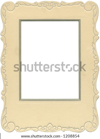 Antique photo frame with scalloped edges from the early 1900's. Some grunge intact. - stock photo