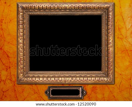 Antique Picture Frame Plaque On Old Stock Photo (Royalty Free ...