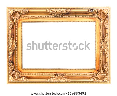antique picture frame isolated before white background - stock photo