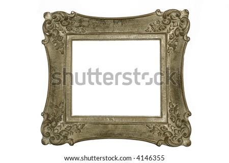 Antique picture frame isolated on white - stock photo