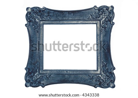 Antique picture frame, square, blue and black color - stock photo