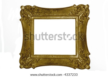 Antique picture frame, square, gold/yellow color - stock photo