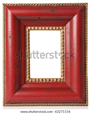 Antique picture frame, studio isolated on white. - stock photo