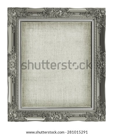 antique picture frame with empty grunge linen canvas for your picture, photo, image. beautiful vintage background - stock photo