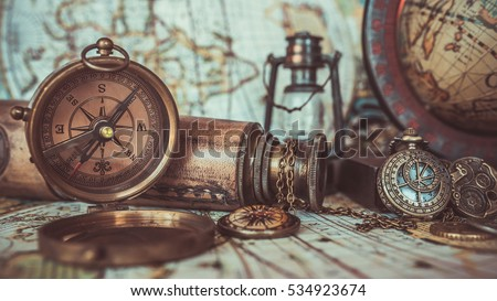 Antique pirate rare items collections including stock photo antique pirate rare items collections including with a bronze pocket compass with cover lid old gumiabroncs Choice Image