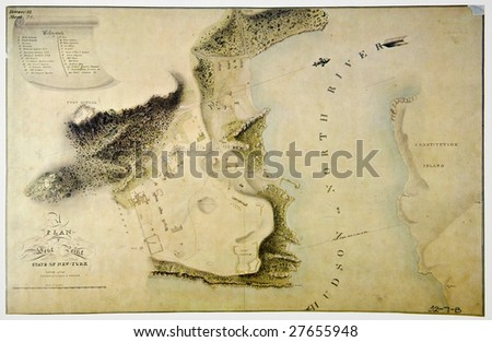 Antique plan of West Point, state of New York. Photo from old reproduction - stock photo